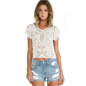 Lovers + Friends Daycation Crop Ivory Top S
